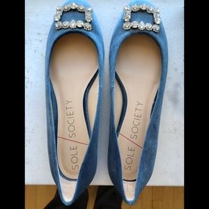 "Ballerina flats, blue suede with ""diamond"" buckle"